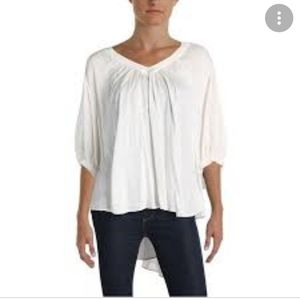 Free People White Cuffed V Neck Top